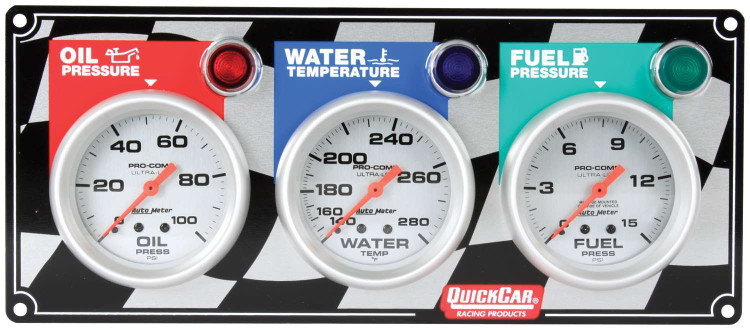 Gauge Panel Assembly - Auto Meter Ultra-Lite - Fuel Pressure/Oil Pressure/Water Temp - White Face - Warning Light - Kit