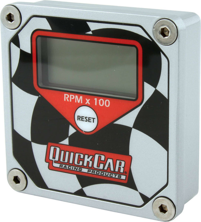 Gauge - Tachometer - QuickTach - 0-15000 RPM - Digital - 3 in Wide x 3 in Tall - Recall - 9V Battery - Waterproof - Aluminum - Black/White - Each