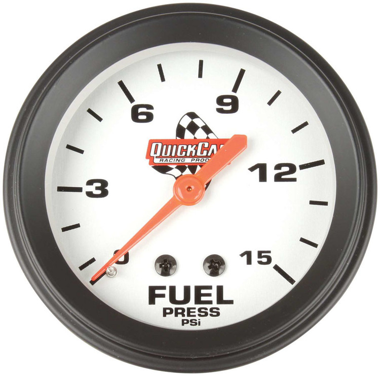 Gauge - Fuel Pressure - 0-15 psi - Mechanical - Analog - 2-5/8 in Diameter - White Face - Each
