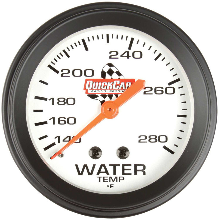 Gauge - Water Temperature - 100-280 Degree F - Mechanical - Analog - 2-5/8 in Diameter - White Face - QuickCar Sprint Panels - Each