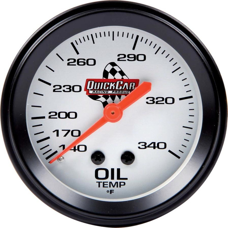 Gauge - Oil Temperature - 100-340 Degree F - Mechanical - Analog - 2-5/8 in Diameter - White Face - Each