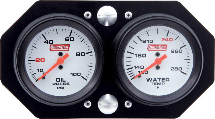 Gauge Panel Assembly - Sprint Panel - Oil Pressure/Water Temp - White Face - Aluminum Panel - Kit