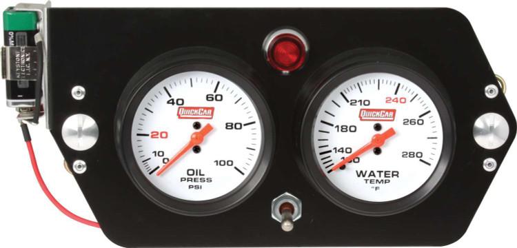 Gauge Panel Assembly - Sprint Panel - Oil Pressure/Water Temp - White Face - 9-Volt Battery - Aluminum Panel - Kit