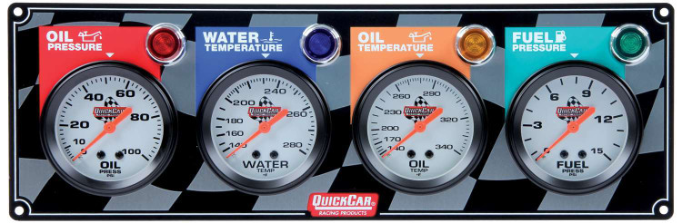 Gauge Panel Assembly - Fuel Pressure/Oil Pressure/Oil Temp/Water Temp - White Face - Warning Light - Kit