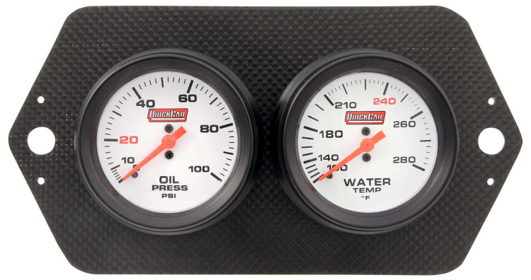 Gauge Panel Assembly - Sprint Panel - Oil Pressure/Water Temp - White Face - Carbon Fiber Panel - Kit
