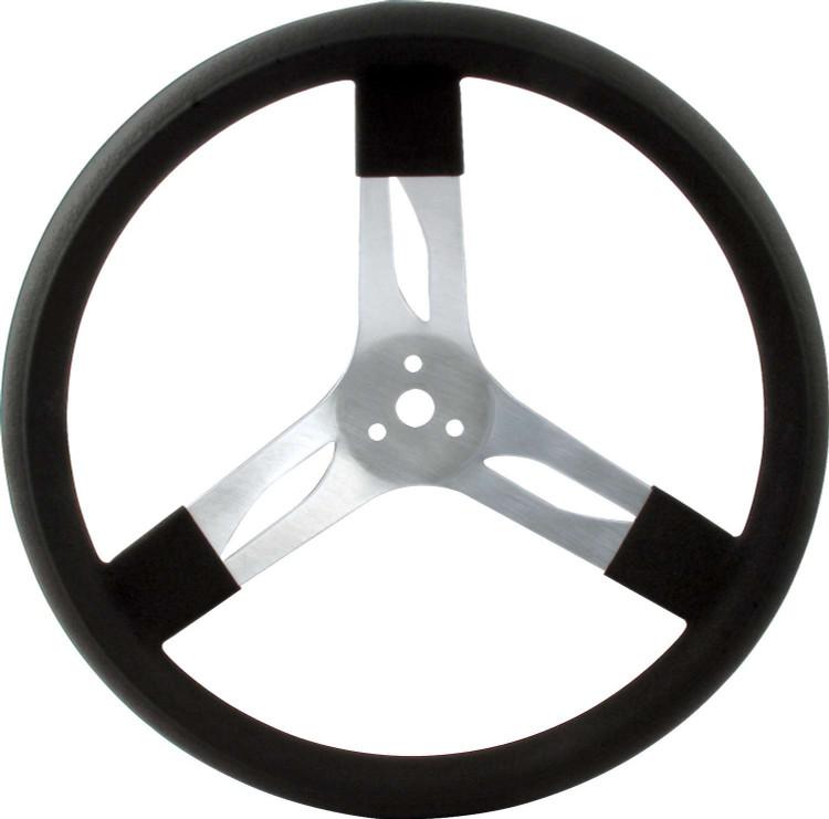 Steering Wheel - 15 in Diameter - 3 Spoke - 3 in Dish Depth - Black Rubber Grip - Aluminum - Natural - Each