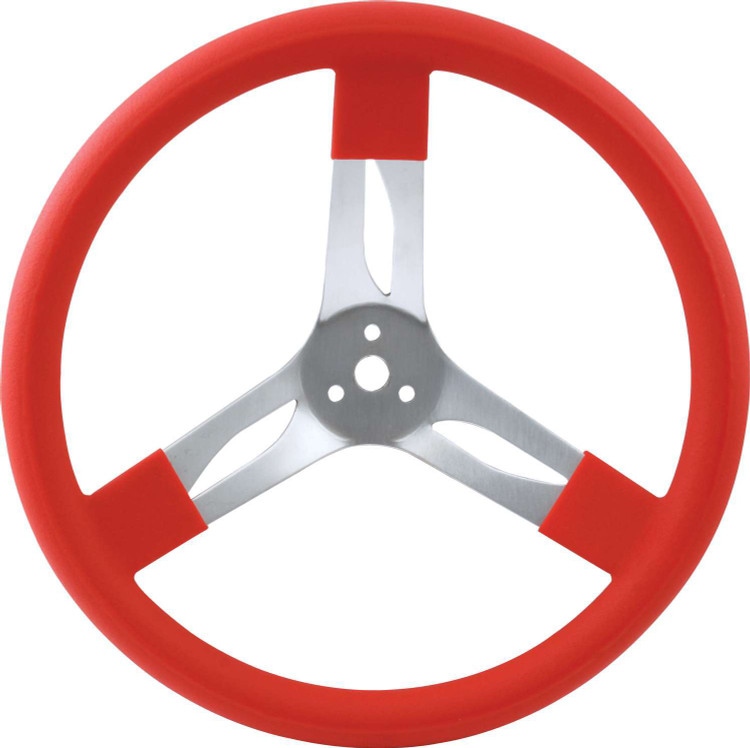Steering Wheel - 15 in Diameter - 3 Spoke - 3 in Dish Depth - Red Rubber Grip - Aluminum - Natural - Each