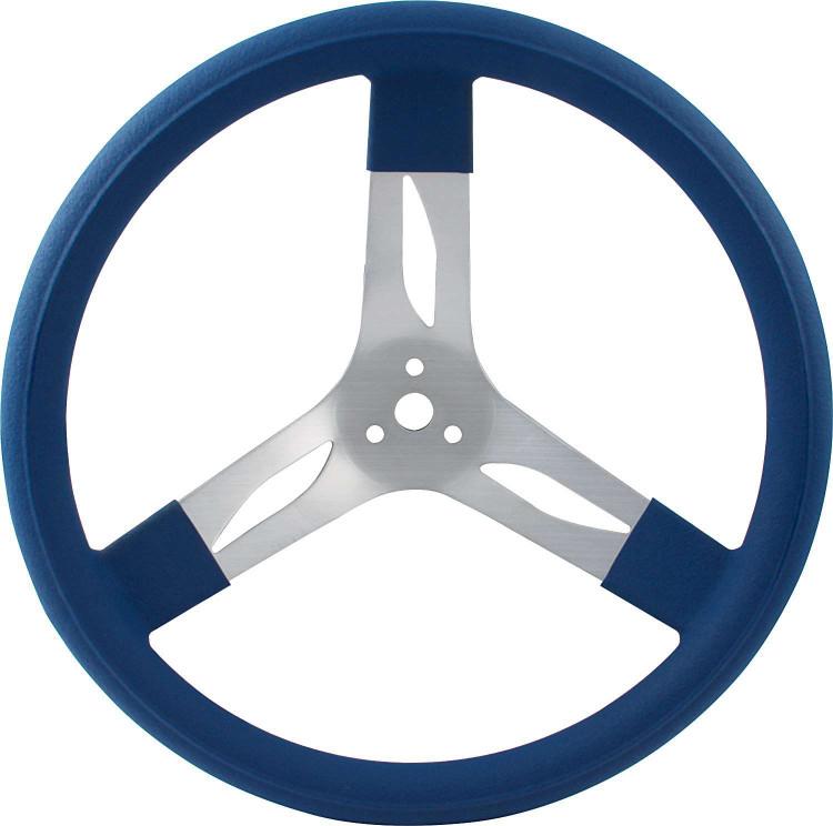 Steering Wheel - 15 in Diameter - 3 Spoke - 3 in Dish Depth - Blue Rubber Grip - Aluminum - Natural - Each