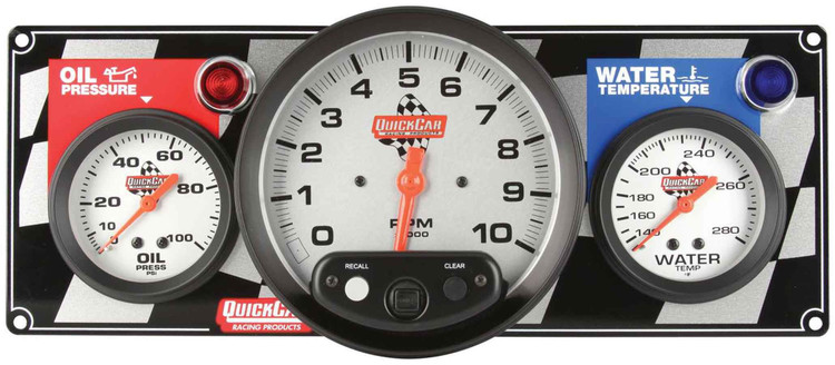 61-6031  -  Gauge Panel Assembly - Oil Pressure/Tachometer/Water Temp - White Face - Warning Light - Kit