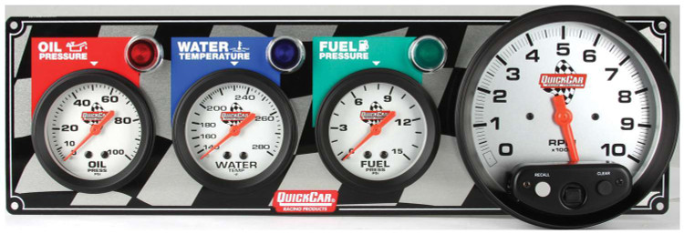 61-6042  -  Gauge Panel Assembly - Fuel Pressure/Oil Pressure/Tachometer/Water Temp - White Face - Warning Light - Kit