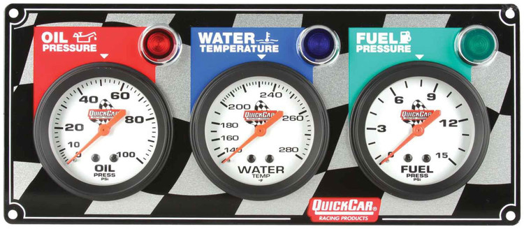 61-6012 - Gauge Panel Assembly - Fuel Pressure/Oil Pressure/Water Temp - White Face - Warning Light - Kit