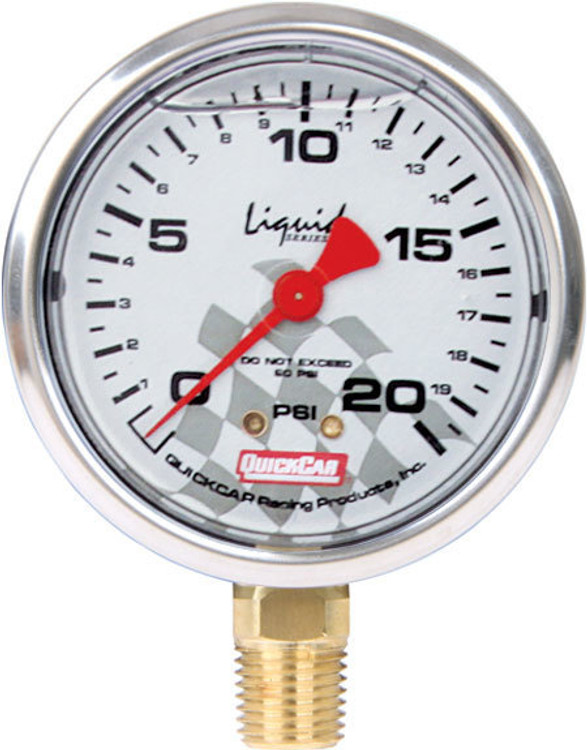 56-0021 - Tire Pressure Gauge Head - Liquid Filled - 0-20 psi - Quickcar Tire Pressure Gauges - Each