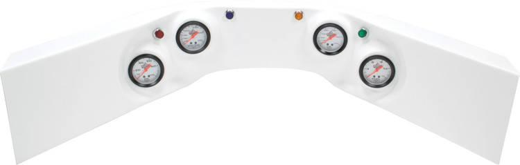 61-6024 - Fiberglass Molded Gauge Panel Assembly - Oil Pressure/Water Temp/Oil Temp/Fuel Pressure - White