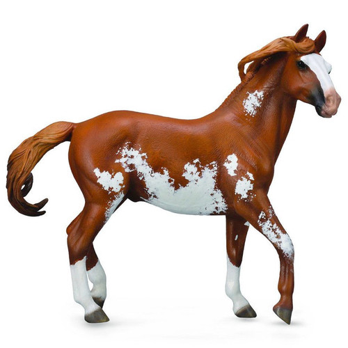 Mustang Stallion Chestnut Overo Deluxe Scale