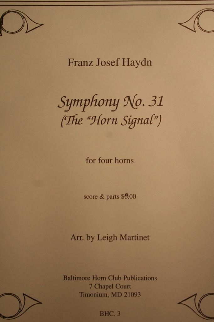 "Haydn - Symphony No. 31 (The ""Horn Signal"")"