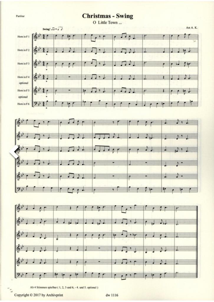 Kummerlander, Andreas - Christmas Swing for Four, Five or Six Horns