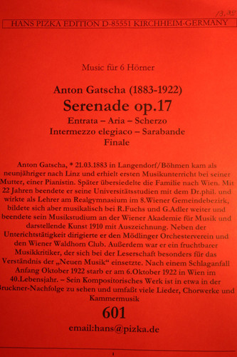 Gatscha, Anton - Serenade, Op. 17