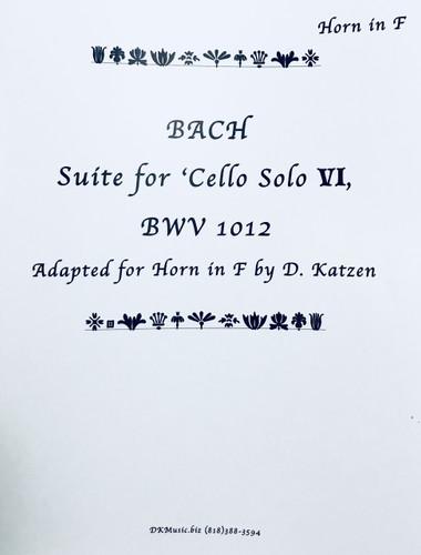 Bach, J.S. - Suite for Cello VI BWV 1012 (Adapted for Solo Unaccompanied Katzen