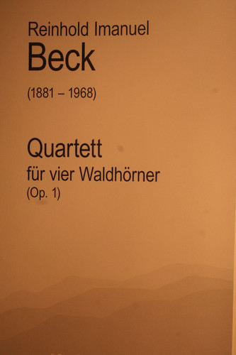Beck, Reinhold - Quartet For 4 Horns, Op. 1