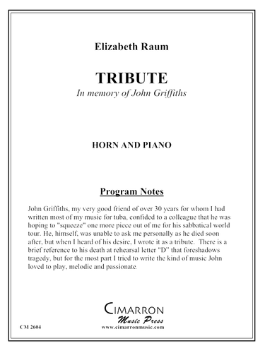 Raum, Elizabeth - Tribute (in memory of John Griffiths) (image 1)