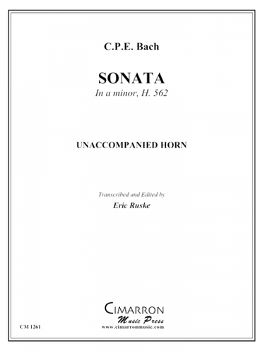 Bach, C.P.E. - Sonata in A minor, H. 562 for Solo Unaccompanied Horn