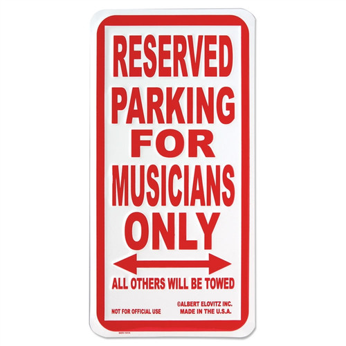 Musicians Only Parking Sign