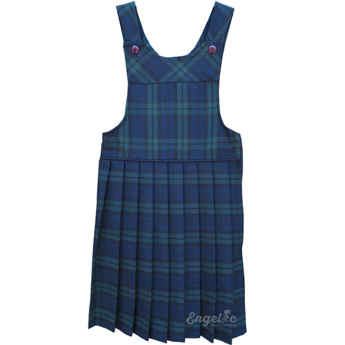 Bib Top Pleated Jumper with Piping | Plaid R | Color #79 (BBFR)