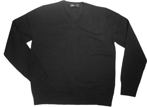 LJ Import Girls Kids Sweater V-Neck Pullover Long Sleeves Black 100% Cotton