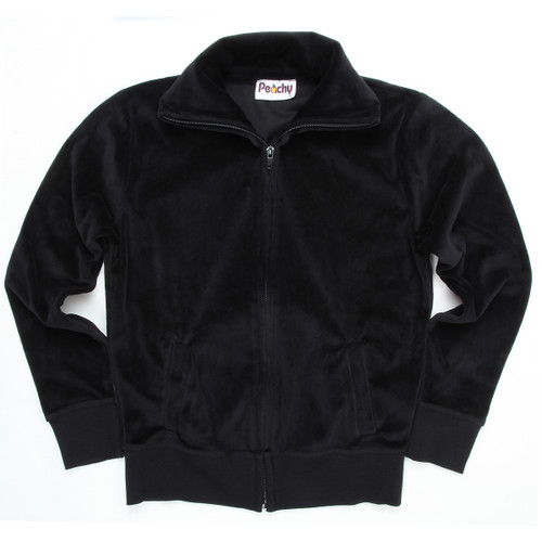 Velour Zip-Up With Collar & Side Slit Pockets Black