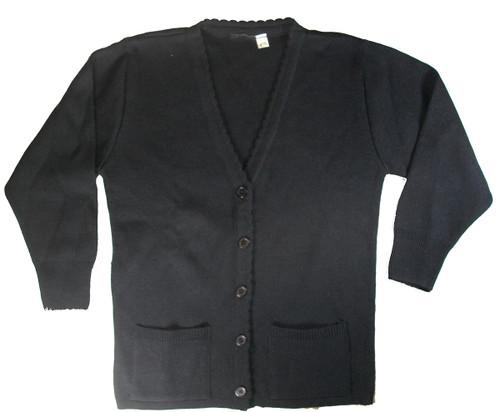 Girls School Uniform Scalloped V-Neck Cardigan Sweater