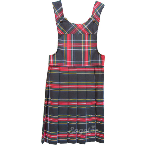 Bib Top Pleated Jumper with Piping | Plaid T