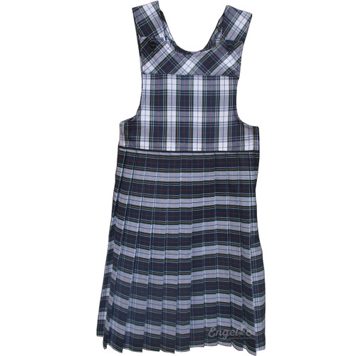 Bib Top Pleated Jumper with Piping | Plaid K | Color #8B (GY)