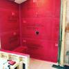 Red Gard installed on Durock Ultralight Foam Backer Board