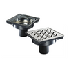 """Side view ACO 6"""" square Shower Point Drain  with Hawaii locking grate"""