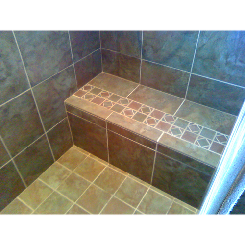 "32"" Solid Rectangular Shower Bench finished with tile"