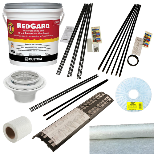 Red Gard Roll On Membrane kit with Handi Kirb and Oatey PVC 3 piece drain