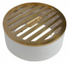 """NDS  4"""" Round Polished Brass Grate w/PVC Collar"""