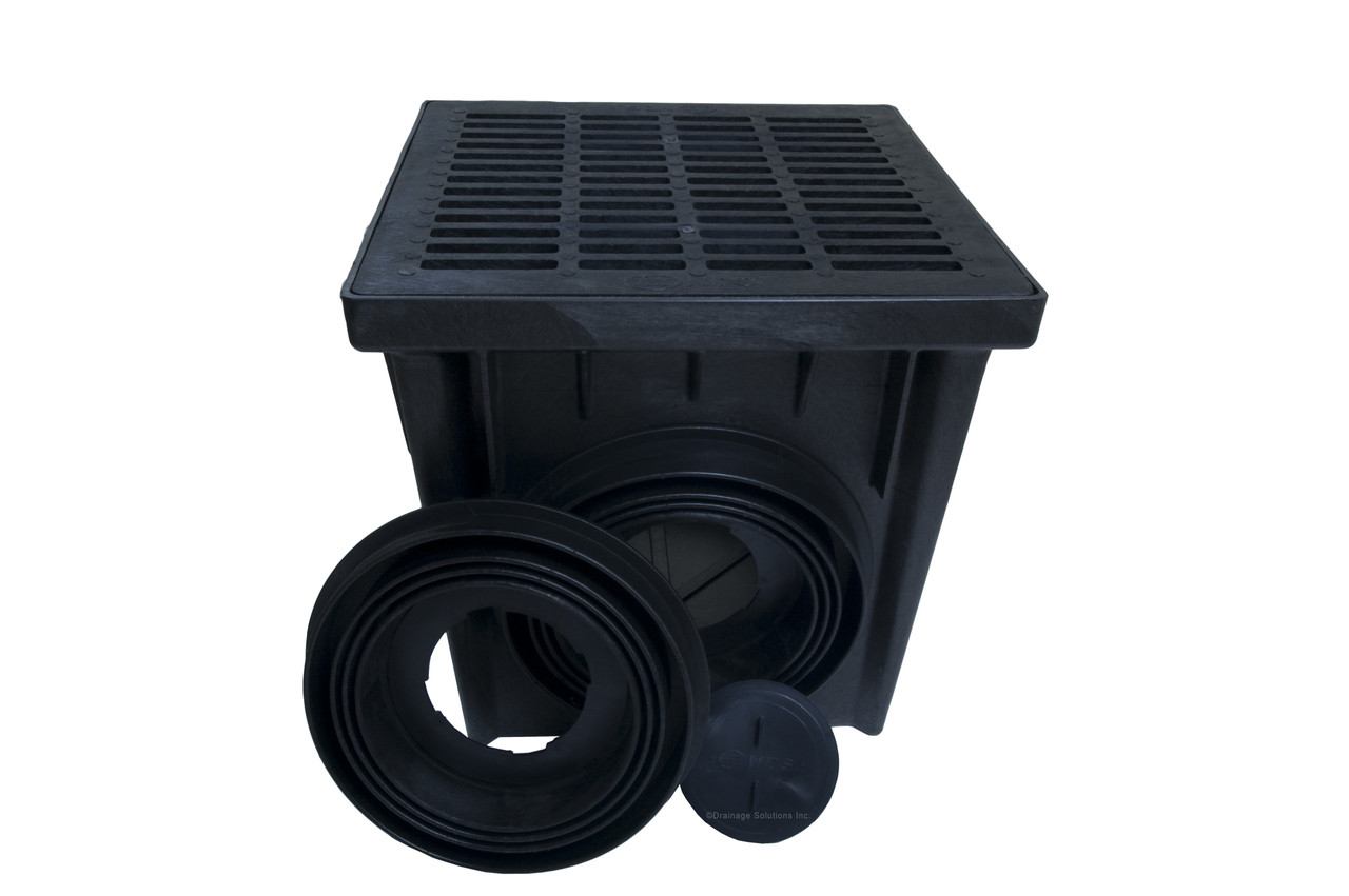 Nds 24 Quot Two Hole Catch Basin Kit W Black Grate The