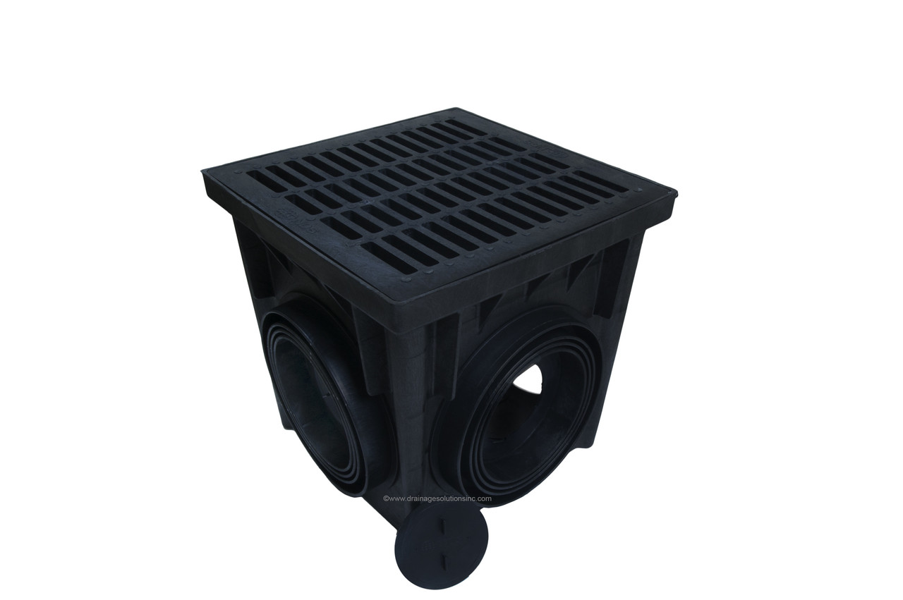 Nds 24 Quot Four Hole Catch Basin Kit W Black Grate The