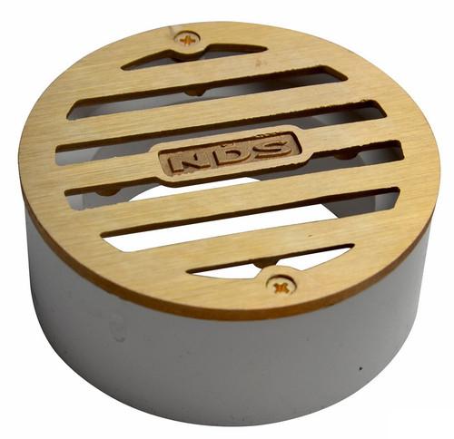 "NDS  3"" Round Satin Brass Grate w/PVC Collar"