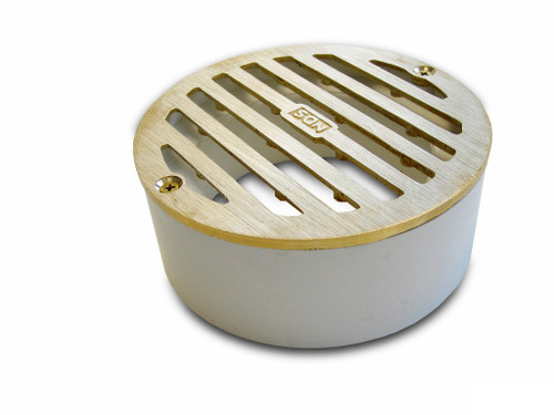 "NDS  4"" Round Satin Brass Grate w/PVC Collar"