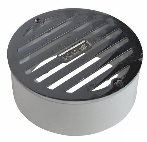 """NDS  4"""" Round Polished Chrome Grate w/PVC Collar"""