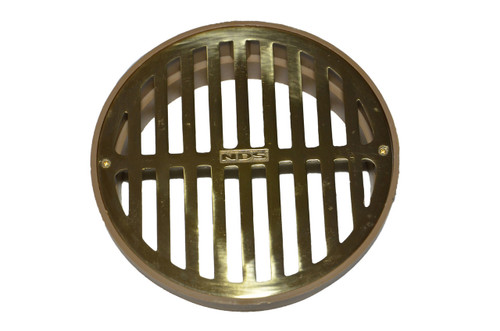 "NDS  6"" Round Polished Brass Grate w/Styrene Collar"