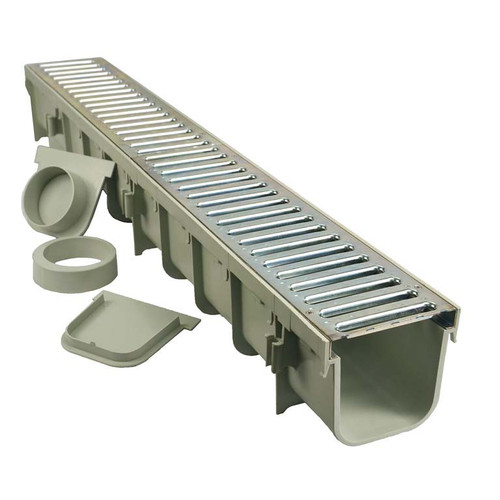"NDS 864GMTL 5"" Pro Series Channel Drain Kit  - Galvanized Metal Grate"