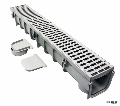 NDS 864G Contractor (4 Pack) Channel Drain Kit - Plastic Grate