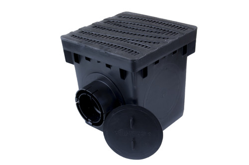 "NDS 12"" Catch Basin Kit w/ Black Decorative Wave Grate"