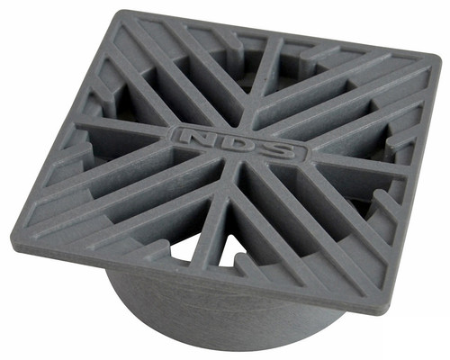 """NDS  4"""" Square Grate - Gray (Each)"""