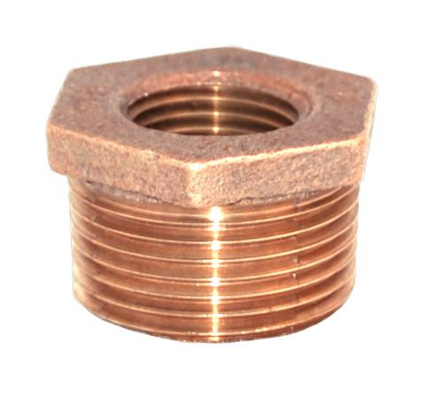 "1 1/2"" x 3/4"" Bronze Reducer Bushing (MPT x FPT)"