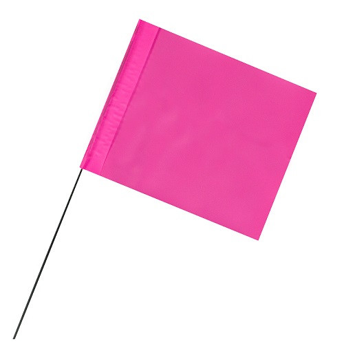 "4"" x 5"" Marking Flags Fluorescent Pink - 30"" Wire Staff (100)"