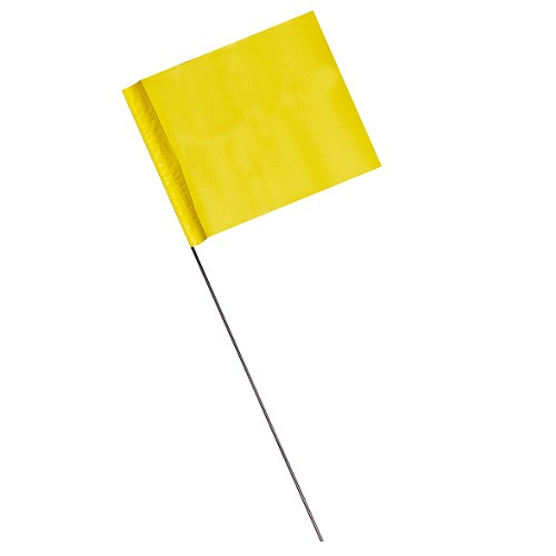 "4"" x 5"" Marking Flags Yellow - 30"" Wire Staff (1000)"